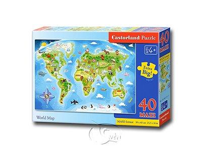 【Castorland拼圖-0040片】童趣世界地圖World Map