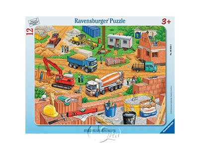 【Ravensburger-兒童紙板拼圖-12片】建築工地Work on the construction site