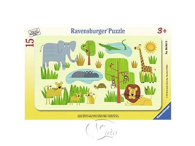 【Ravensburger-兒童紙板拼圖-15片】非洲的動物們Funny Animals Of Africa