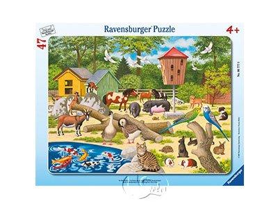 【Ravensburger-兒童紙板拼圖-47片】動物園歷險記At the Petting Zoo