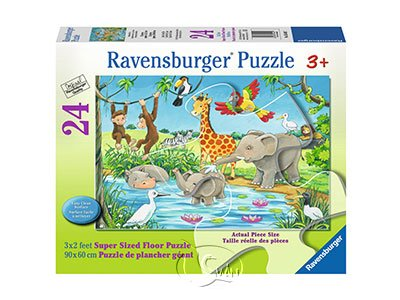【Ravensburger-地板拼圖-24片】洗澡趣Waterhole Fun