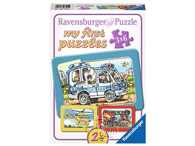 【Ravensburger拼圖-3x6片】【我的第一幅拼圖】消防車、警車、救護車My first Puzzle - Fire Department, Police, Ambulance