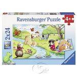 【Ravensburger拼圖-2x24片】玩耍的貓與狗Playful Animals