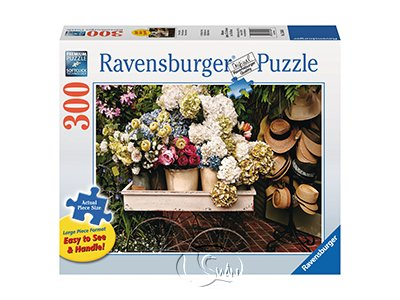 【Ravensburger-大拼片拼圖-300片】市集一隅Flowers & Hats