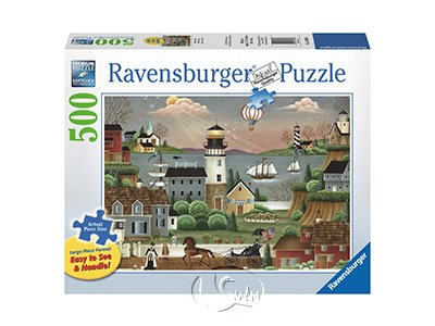 【Ravensburger-大拼片拼圖-500片】海邊鄉村風景Beacons Cove