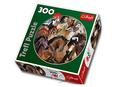【圓形拼圖-300片】馬兒群像Horses