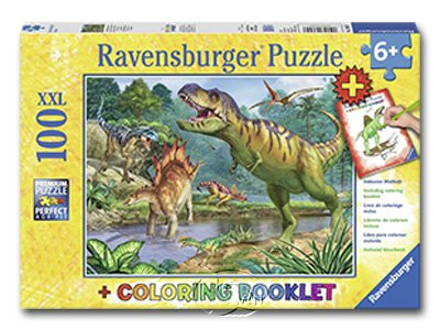 【Ravensburger-大拼片拼圖-100XXL片】恐龍世界&著色書World of Dinosaurs & Coloring Book