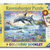 【Ravensburger-大拼片拼圖-100XXL片】活力海豚&著色書Vibrant Dolphins & Coloring Book