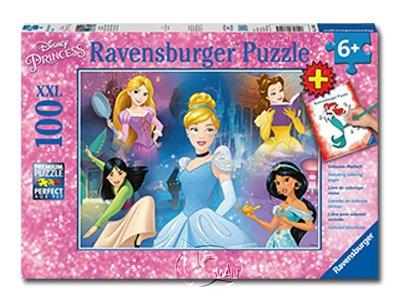 【Ravensburger-大拼片拼圖-100XXL片】迪士尼:迷人的公主&著色書DPR:Bezaubernde Prinzess