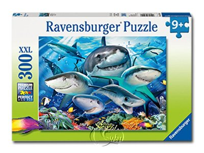 【Ravensburger-大拼片拼圖-300XXL片】微笑鯊魚Smiling Sharks