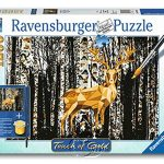 【Ravensburger拼圖-1200片】手繪金漆-樺樹林小鹿Deer in the Birch Forest