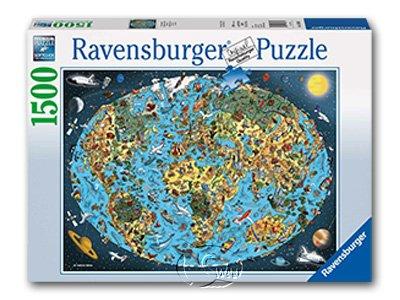 【Ravensburger拼圖-1500片】插畫卡通地球Cartoon Earth
