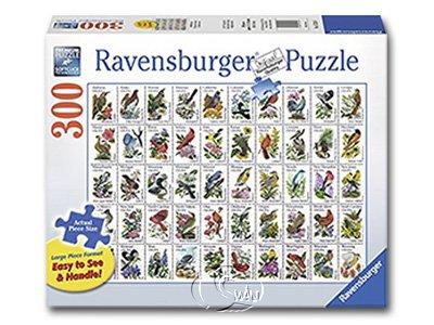 【Ravensburger-大拼片拼圖-300L片】鳥類郵票圖鑑50 Bird Stamps