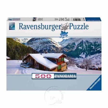 【Ravensburger-全景拼圖-500片】阿爾卑斯山雪中小屋House in the Alps